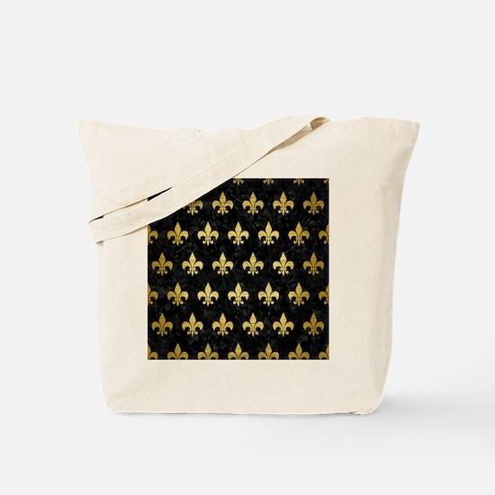 ROYAL1 BLACK MARBLE & GOLD BRUSHED METAL Tote Bag
