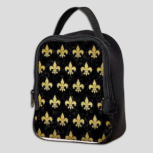 ROYAL1 BLACK MARBLE & GOLD BRUS Neoprene Lunch Bag