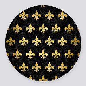ROYAL1 BLACK MARBLE & GOLD BRUSHE Round Car Magnet