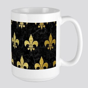 ROYAL1 BLACK MARBLE & GOL 15 oz Ceramic Large Mug