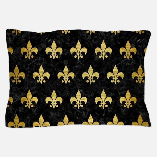 ROYAL1 BLACK MARBLE & GOLD BRUSHED MET Pillow Case