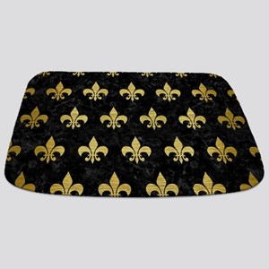 ROYAL1 BLACK MARBLE & GOLD BRUSHED METAL ( Bathmat