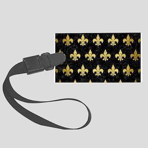 ROYAL1 BLACK MARBLE & GOLD BRUSH Large Luggage Tag