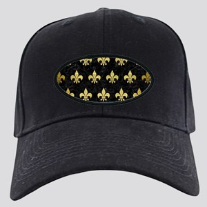 ROYAL1 BLACK MARBLE & GOLD BR Black Cap with Patch