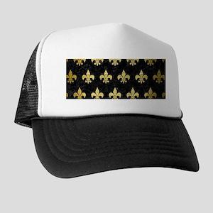 ROYAL1 BLACK MARBLE & GOLD BRUSHED MET Trucker Hat