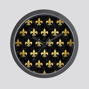 ROYAL1 BLACK MARBLE & GOLD BRUSHED META Wall Clock
