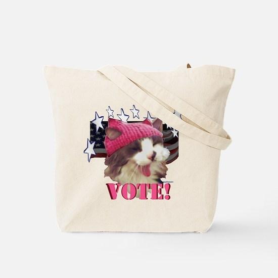 Pink Hat Cat Resist! Tote Bag