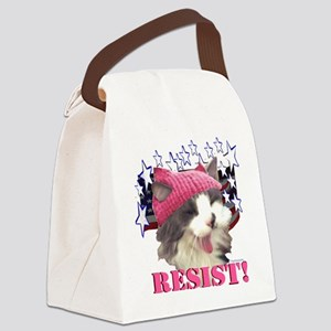 Pink Hat Cat RESIST! Canvas Lunch Bag