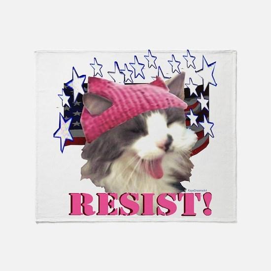 Pink Hat Cat Resist! Throw Blanket