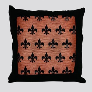 ROYAL1 BLACK MARBLE & COPPER BRUSHED Throw Pillow