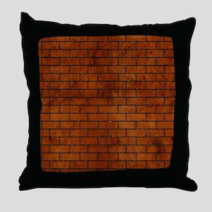 BRICK1 BLACK MARBLE & BROWN BURL WOOD Throw Pillow