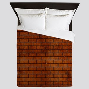 BRICK1 BLACK MARBLE & BROWN BURL WOOD Queen Duvet
