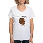 Lil' Turkey Women's V-Neck T-Shirt