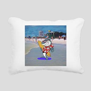 Surfer Shark Rectangular Canvas Pillow