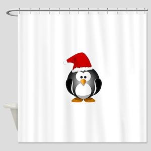 Santa Hat Penguin Shower Curtain