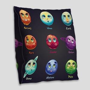 Cartoon Planets Burlap Throw Pillow