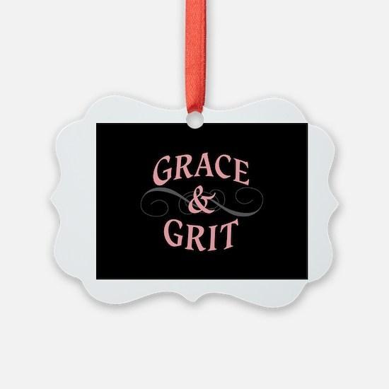 Grace & Grit on Black Background Ornament