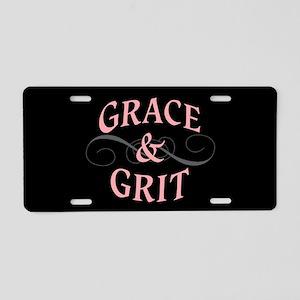 Grace & Grit on Black Background Aluminum License