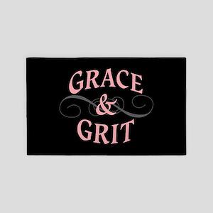 Grace & Grit on Black Background Area Rug