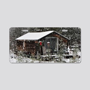 Snowing at Cottage Aluminum License Plate