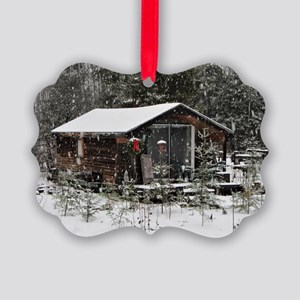 Snowing at Cottage Picture Ornament