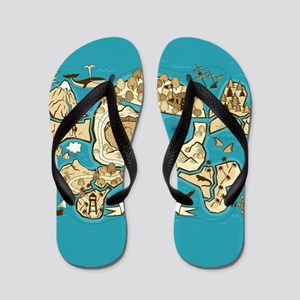 Treasure Map Flip Flops