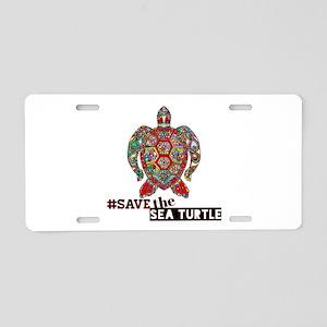 save the sea turtle Aluminum License Plate