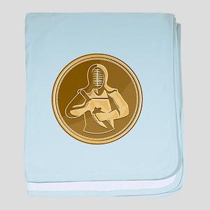 Kendo Swordsman Gold Medal Retro baby blanket