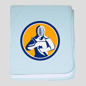 Kendo Kendoka Swordsman Circle baby blanket