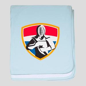 Kendo Swordsman Crest Retro baby blanket