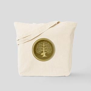 Deer Head Tree Antler Gold Coin Retro Tote Bag