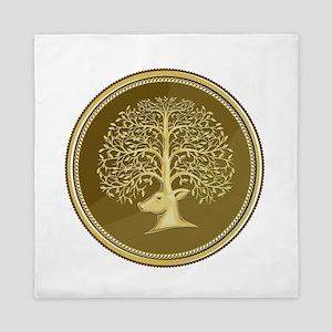 Deer Head Tree Antler Gold Coin Retro Queen Duvet