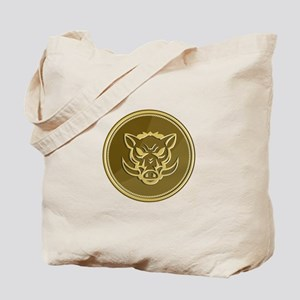 Wild Hog Head Angry Gold Coin Retro Tote Bag