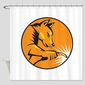 Dingo Dog Welding Circle Retro Shower Curtain