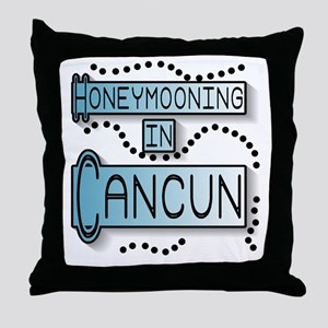 Blue Honeymoon Cancun Throw Pillow