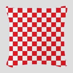 Red Checkered Woven Throw Pillow