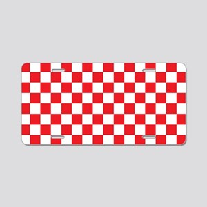 Red Checkered Aluminum License Plate
