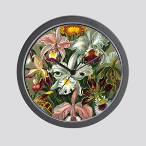 Vintage Orchid Floral Wall Clock