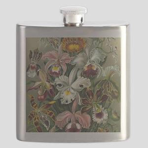 Vintage Orchid Floral Flask
