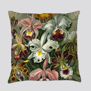 Vintage Orchid Floral Everyday Pillow