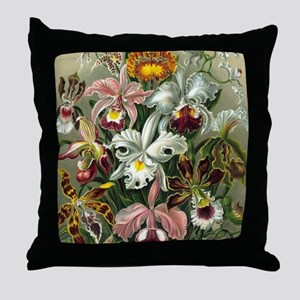 Vintage Orchid Floral Throw Pillow
