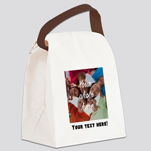 Your Photo And Text Canvas Lunch Bag