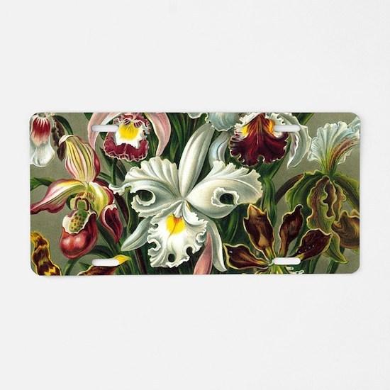 Vintage Orchid Floral Aluminum License Plate