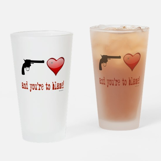 Shot Through the Heart Drinking Glass