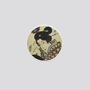 Vintage Geisha Girl Mini Button