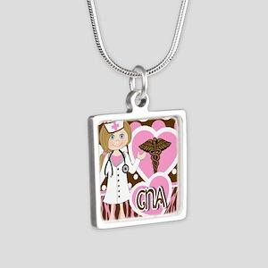 CNA Silver Square Necklace