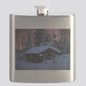 Snowed in Cottage Flask