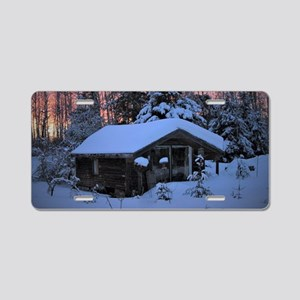 Snowed in Cottage Aluminum License Plate