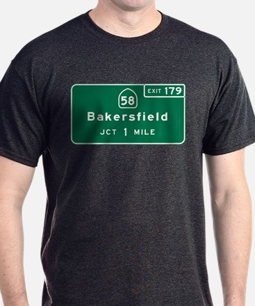 Bakersfield, CA Road Sign, USA T-Shirt