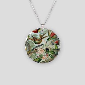 Vintage Hummingbirds Decorat Necklace Circle Charm